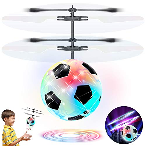 (Flying Ball Drone Kids RC Airplane Toys,Infrared Induction Mini Drones Light Up Flying Aircraft Hand Remote Controlled Helicopter, Hover Soccer Flying Ball Game Ourdoor Sport Toy Girls Boys)