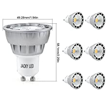 6x LED GU10 5W = 50W Dimmable Day White 5000K Spot Light Lamp Bulbs,38° Beam Angle JACKYLED COB Chips Recessed Track Lighting,450LM,Compatible for Silicon-Controlled Rectifier Dimmers,Input 120V/AC