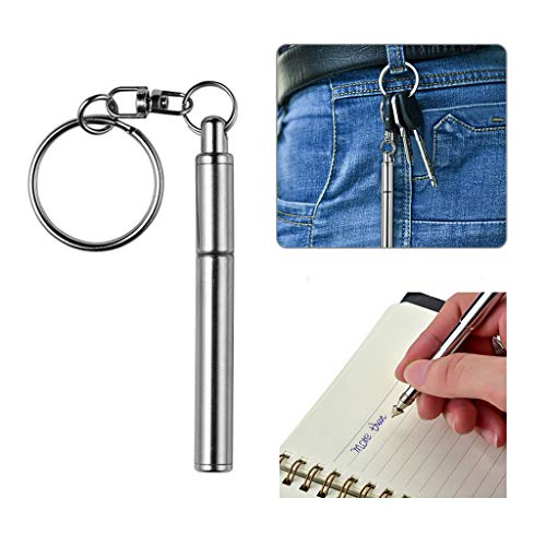 - Uplord Mini Metal Key Ring,Retractable Pen Shape Keychain,Stainless Steel Telescopic Pen Keying Telescoping Pen Tool