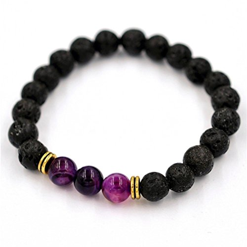 Price comparison product image JSPOYOU Promotions Women Men Agate Lava Stone Transport Bead Bracelet Tibet Charm Bracelets (Purple)