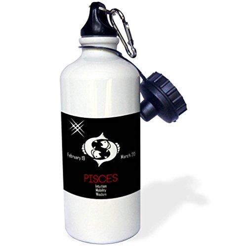 3dRose Alexis Design - Zodiac - Zodiac symbol Pisces on black background - 21 oz Sports Water Bottle (wb_272616_1)