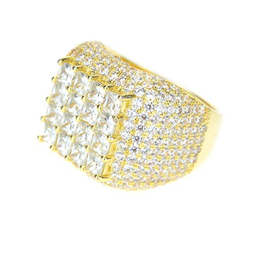 Mens 14K Gold Plated A+ CZ Heavy Ice Out Squared Pimp Ring Size 11