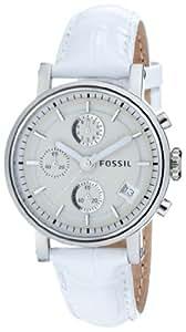 Fossil ES2202 - Reloj analógico de cuarzo para mujer con correa de acero inoxidable, color blanco
