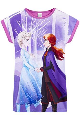 Disney Frozen 2 Nightdress, Short Sleeve Super Soft Nighties for Kids, Frozen Elsa Pyjamas for Girls, Official Nightie for Girls Fun Kids Pjs, Frozen Gifts for Girls