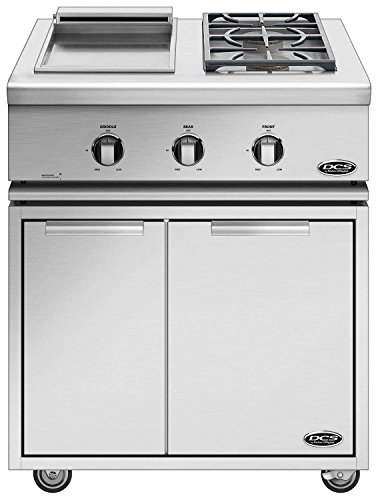 DCS Liberty Dual Side Burner and Griddle on Cart (71128) (BFGC-30BGD-L-CAD1-30), 30-Inch, Propane Gas
