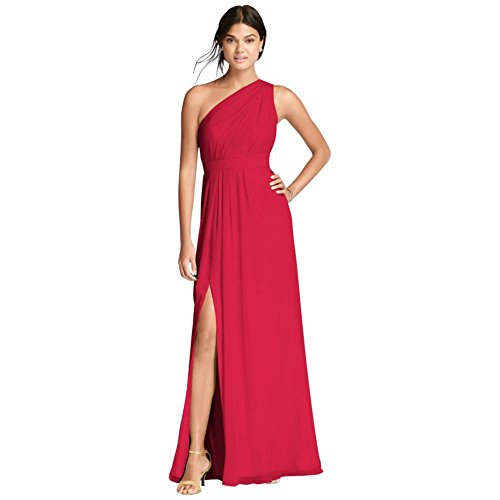 David's Bridal Long Chiffon Bridesmaid Dress with Asymmetric Neckline Style F18055, Cherry, 2 ()