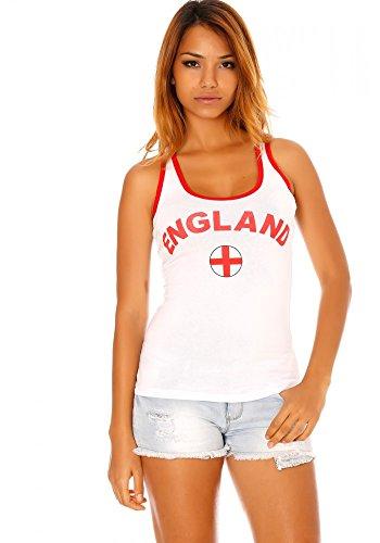 dmarkevous - Débardeur blanc à bordures rouges imprimé England et drapeau - L, blanc