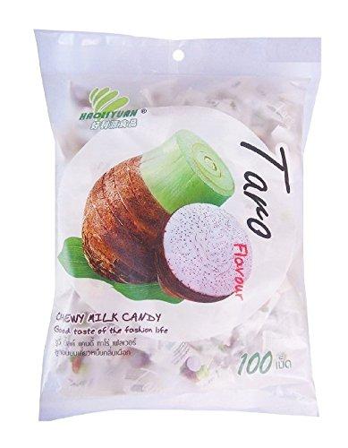 Haoliyuan Taro Flavor Sweet Soft Chewy Milk Candy, 100 Pieces (13.4 oz) (Candy Thai)