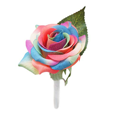 (Lily Garden Artificial Mix Rainbow and Cream Roses Wedding Bouquet Boutonniere Set Real Touch (Rainbow)