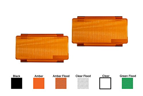 (2pcs 6 inch Amber Flood OZ-USAÂ Diffused Protective Polycarbonate Lens Snap On Cover for Offroad LED Light bar Dual Row ATV SUV 4x4)