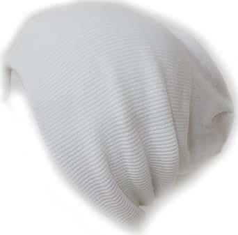 Ribbed Beanie Hat Slouch Style Skull Cap Ski Hat White