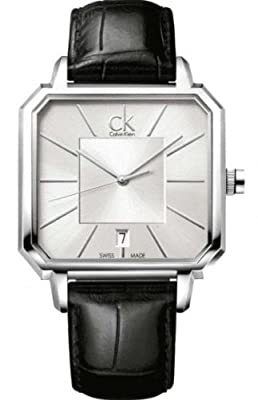 Calvin Klein Silver Dial SS Leather Men's Watch K1U21120