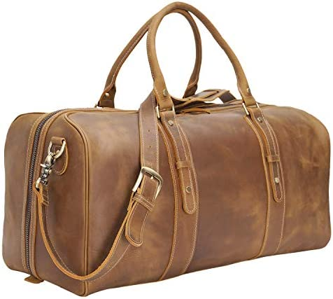 Polare 23 Classic Full Grain Leather Weekender Travel Overnight Luggage Duffel Bag with YKK Metal Zippers