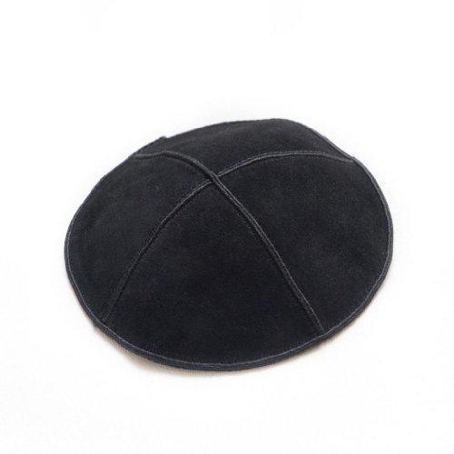 (High Quality Simple Black Suede Yarmulke Kippah 16 Cm)