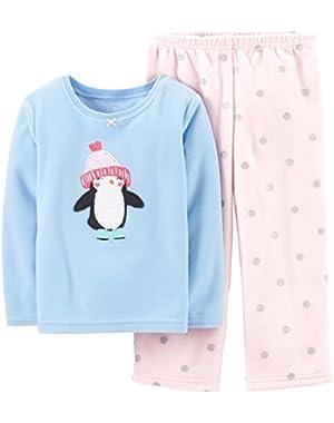 Baby Girls' 2 Piece Fleece PJ Set (Baby) - Penguin