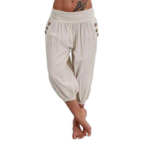 Haidean Capri Eleganti Beige Semplice Jogging Pantalone Moda Tasche Con Waist High Casual Pantaloni Harem Estivi Monocromo Donna Glamorous rIT0wr