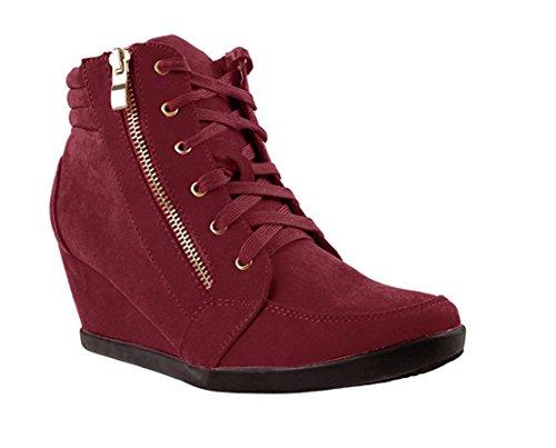 Cosetwear Moda Donna Peggy-56 In Pelle Scamosciata Pu Lace Up Sneakers Con Zeppa Superiore Bordeaux