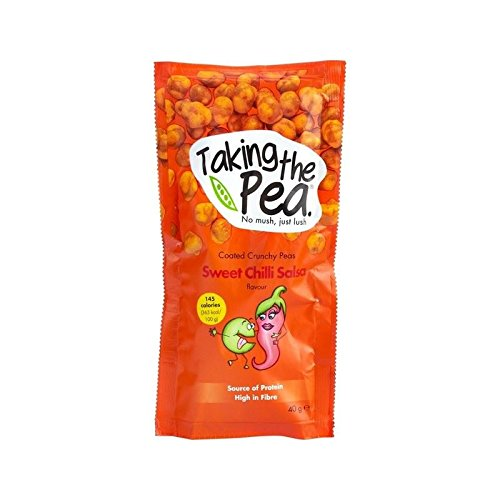 Taking The Pea, Sweet Chilli Salsa English-Grown Crunchy Flavoured Peas 40g - Pack of 6