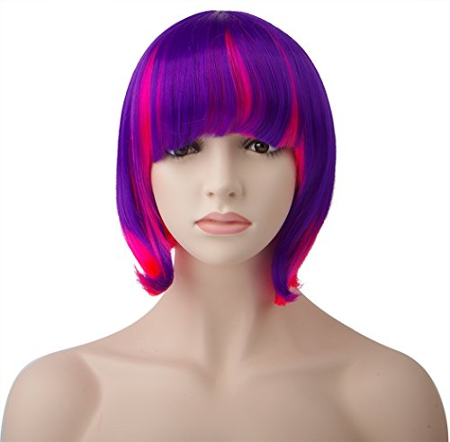 [Spretty Colourful Pink and Purple Ombre Cosplay Wig for Women with Full Bangs] (Tutu Halloween Costumes For Teenage Girls)