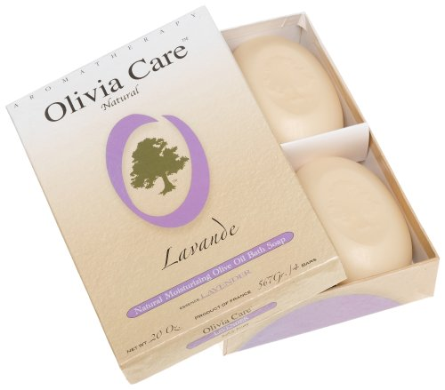 Olivia Care Hard Top Gift Box of 4 Soaps, Lavender, 20-Ounce Boxes