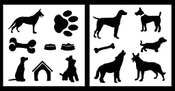 Auto Vynamics - STENCIL-DOGSET01-10 - Detailed Dogs & Dog Accessories Stencil Set - Includes Multiple Dogs & Toys / Treats! - 10-by-10-inch Sheets - (2) Piece Kit - Pair of Sheets