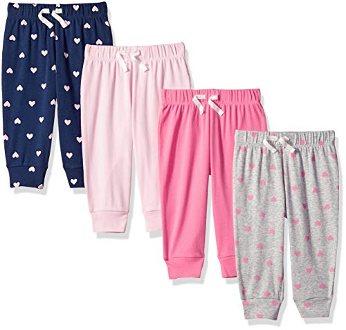 Basic Grey Heart - Amazon Essentials Baby Girls 4-Pack Pull-on Pant, Solid, Heart, Navy & Grey, 24M