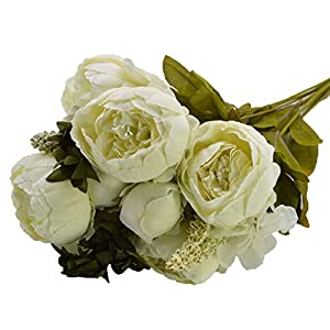 YONGSNOW Vintage Artificial Peony Silk Flowers Bouquet Wedding Home Decoration (White) 53