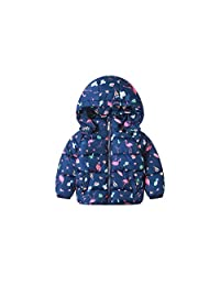 CX.AZUL Girls Toddler Cartoon Cat Animal Winter Warm Fleece Down Hoodies Coat Jacket