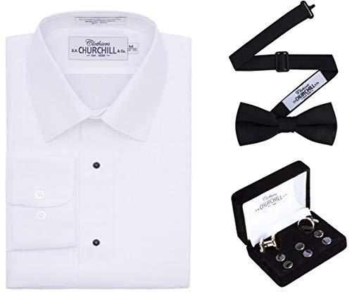 (Men's White Laydown Tuxedo Shirt, Black Bowtie & Gold Stud Set (16.5 34/35) )