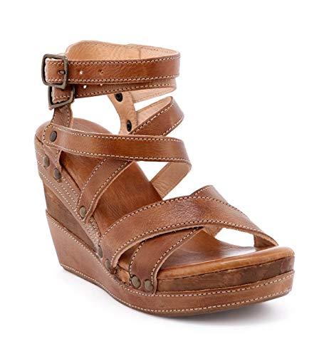 (Bed Stu Women's Juliana Leather Wedge Sandal (6 M US, Tan Rustic)