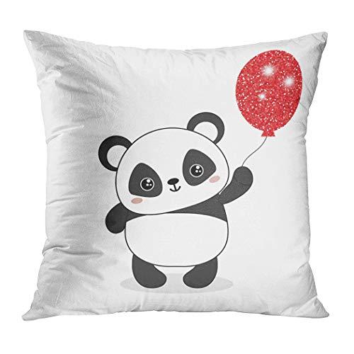 Suklly Throw Pillow Cover Square 16x16 Inch Panda Bear Illustration Holds Balloon Cushion Home Sofa Decor Hidden Zipper Polyester Pillowcase]()