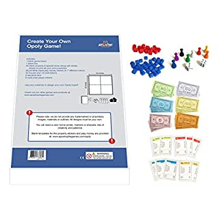 Apostrophe Games Create Your Own Opoly Game (Blank Game Board, Box & Opoly Accessories)