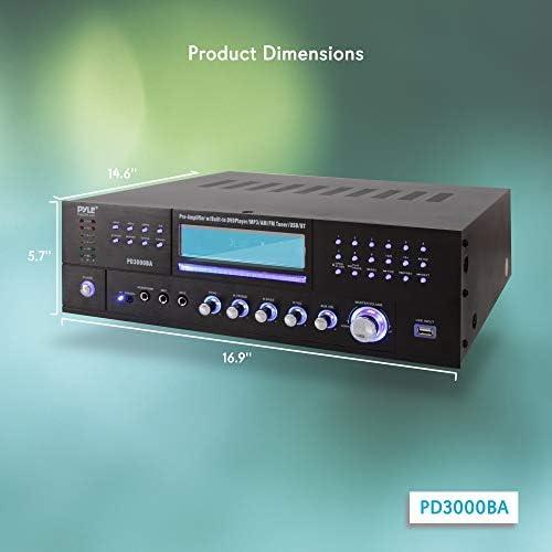 4 Channel Wireless Bluetooth Amplifier – 3000 Watt Stereo Speaker Home Audio Receiver w/ FM Radio, USB, 2 Microphone w/ Echo for Karaoke, Front Loading CD DVD Player, LED, Rack Mount – Pyle PD3000BA 41BSAZr11OL