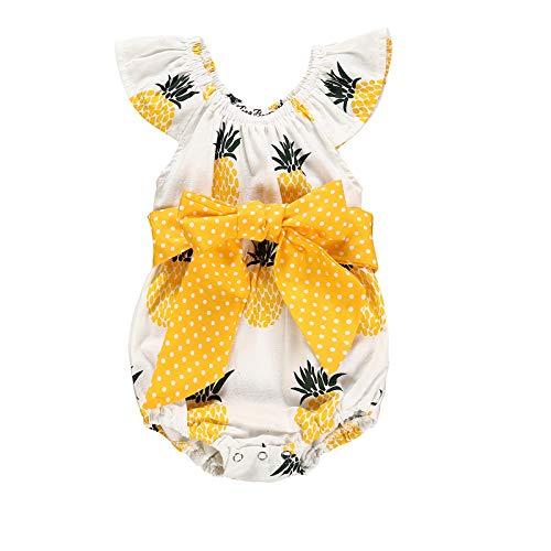 Peuter Pasgeboren Ananas Romper Dot Strik Ruche Korte Mouw Jumpsuit Mode Kleding