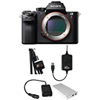 Sony a7R II Alpha Full Frame Mirrorless Digital Camera - Bundle with Case Relay Camera Power System and Coupler, Tether 10000mAh External Battery Pack, Tether Tools StrapMoore for Laptop Power Brick
