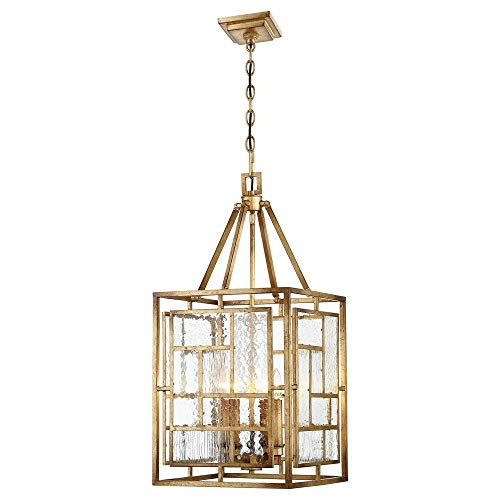 Metropolitan N6474-293 Edgemont Park Pendant, 4-Light 240 Total Watts, Pandora Gold Leaf