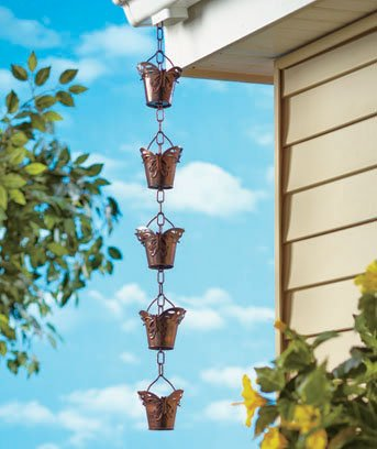 Beautiful Butterfly Iron Rain Chain Design - Trickles Down Filling and Overflowing Each Little Bucket and Creating a Soothing Sound