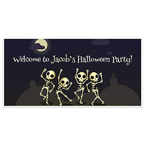 skeleton dancing halloween party banner backdrop decoration