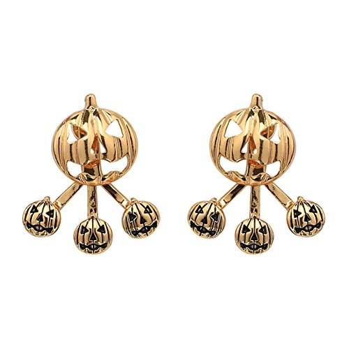 18K Gold Plated Two-tone Halloween Hollow Pumpkin Ghost head Women Girls Stud Earrings -