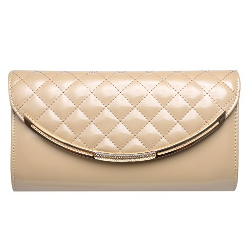 Leather Small Evening Bag (GESU Women Faux Patent Leather Glossy Clutch Purse Evening Bag Handbag Shoulder Bag For Wedding Prom Party.(beige))