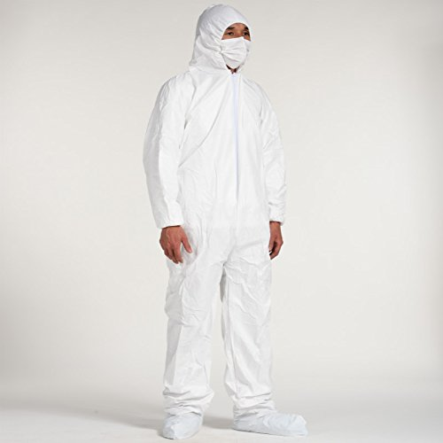 Cleaing Disposable Coveralls with Elastic Wrists and Hood,Protective coveralls without Boot Covers, White, Size: 2XL (Pack Of 5) ()