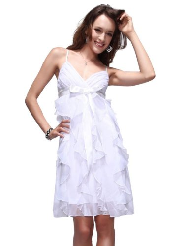 Ever Pretty Lovely V Neck Ruffle Spaghetti Straps Short Cocktail Dress 26109, HE26109WH18, White, 16US
