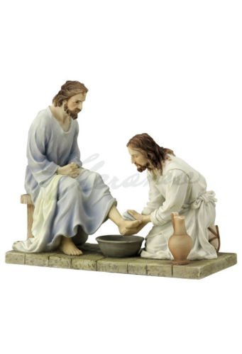 Jesus Washing His Disciple's Feet Statue Sculpture (Color) (Jesus Washing Disciples Feet)