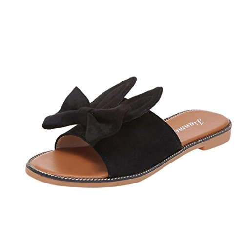 Clog Bow (Outsta Women Fashion Bow & Ears Low Heel Flat Bottom Sandals Slipper Beach Shoes (Black, US:6.5))