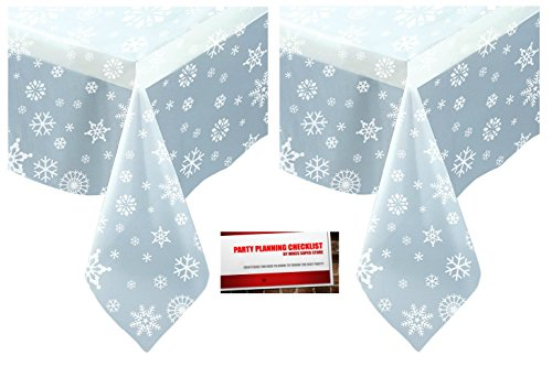 Christmas Plastic Table Cover (2 Pack Clear Winter Christmas Snowflake Plastic Tablecloth Table Cover 108 x 54 plus Party Planning Checklist)