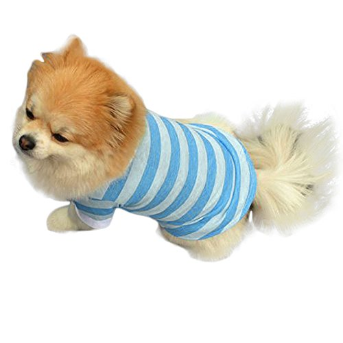 Kehome Pet Dog Thin Shirts Striped Dog T-Shirts Cotton Made Puppy Clothes Polo Outdoor Outfit For Small Dog Blue Meidumn