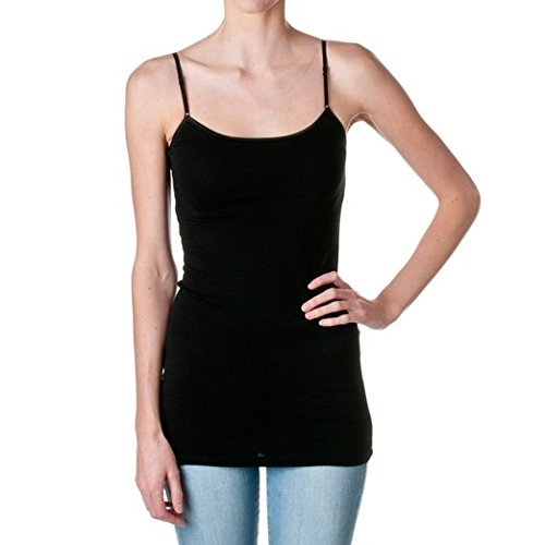 Hollywood Star Fashion Plain Long Spaghetti Strap Tank Top Camis Basic Camisole Cotton, Black, l