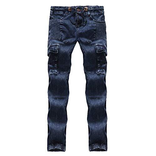 Elasticizzati Estilo Denim Da Trasporto Motociclista Casual Uomo In Slim Fit Blau Pantaloni Jeans Retro Especial xSw0B0qp