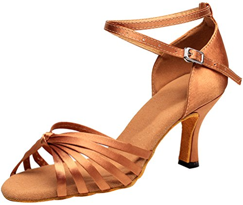 Tango Cha Womens Toe Brown Sudue Peep Salsa Cha Sole Ballroom Latin Wedding Heel Kitten CFP Strap Party Dance 7113 Ankle Satin Shoes YpwYq0f