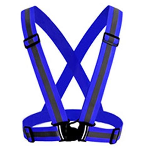 Reflective Vest Elastic and Adjustable Reflective Gear Adjustable Kids Strap Safety Security Visibility Reflective Vest Gear Stripes Jacket (Color : Blue) ()